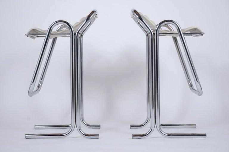 Set of Jerry Johnson Chrome Bar Stools For Sale 3