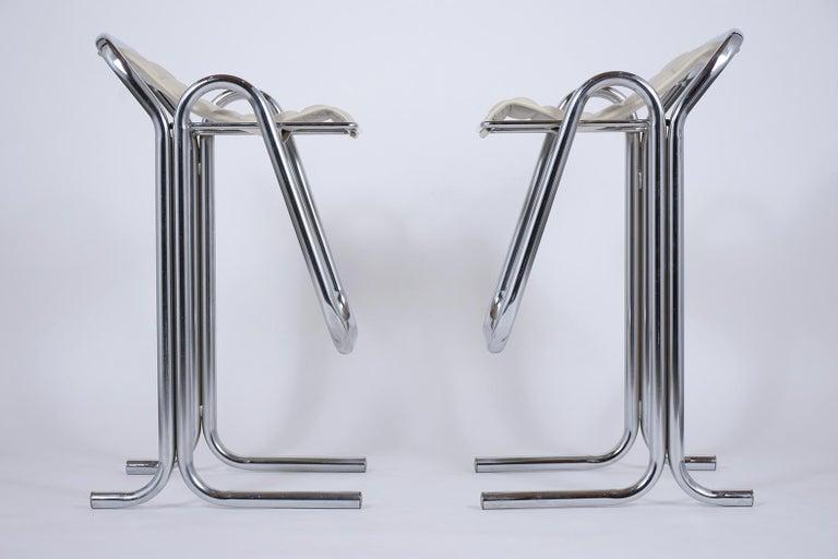 Set of Jerry Johnson Chrome Bar Stools For Sale 4