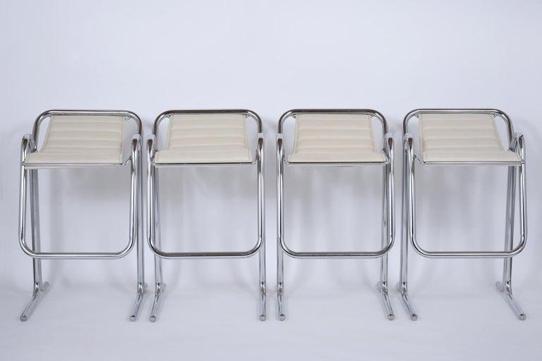 Mid-Century Modern Set of Jerry Johnson Chrome Bar Stools For Sale