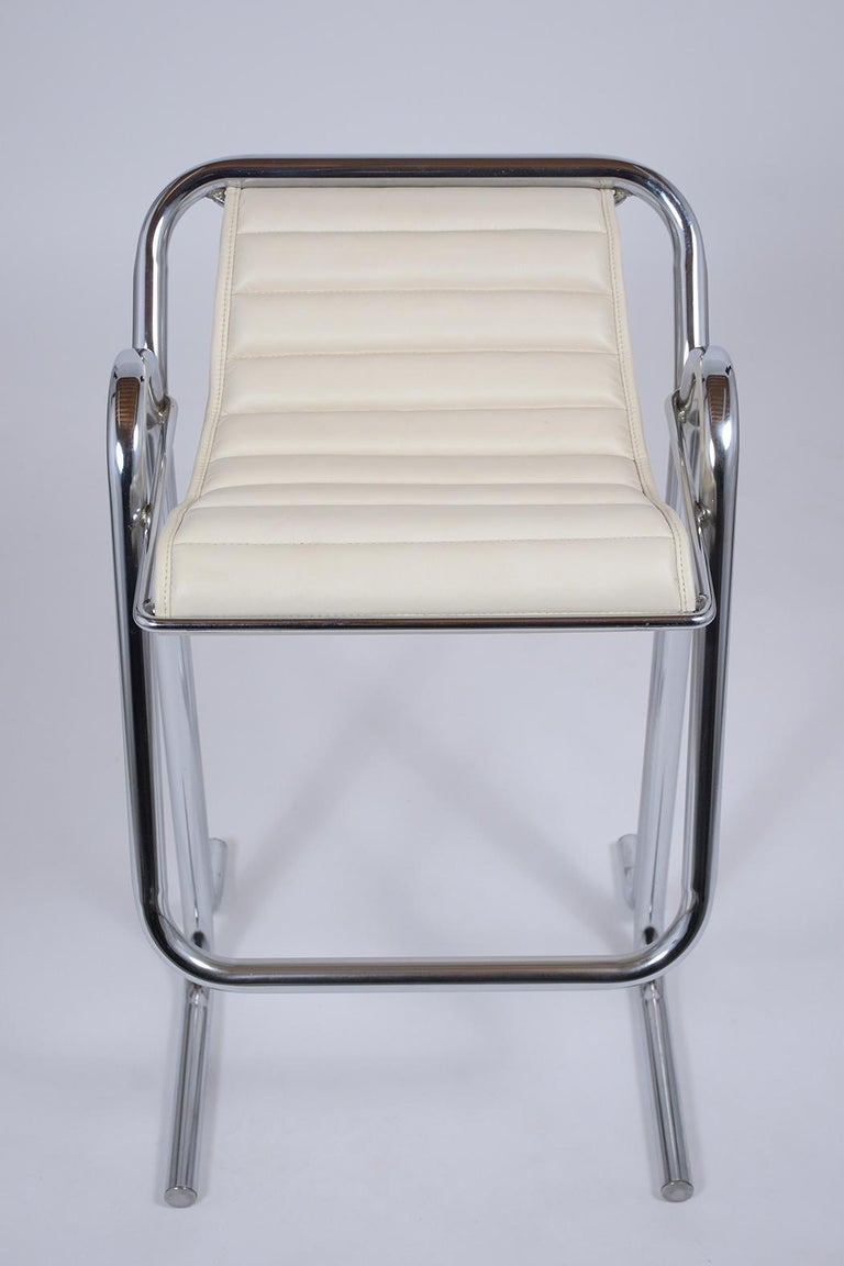 Dyed Set of Jerry Johnson Chrome Bar Stools For Sale