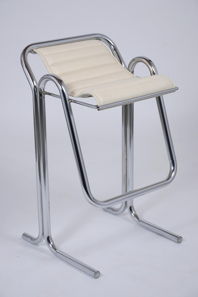Mid-20th Century Set of Jerry Johnson Chrome Bar Stools For Sale