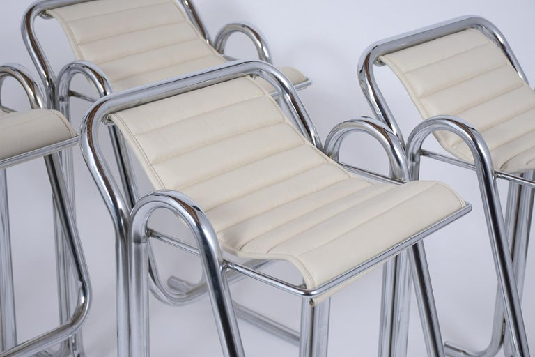 Steel Set of Jerry Johnson Chrome Bar Stools For Sale