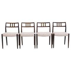 Set of Four J.L. Møllers Hardwood Chairs, Model 79
