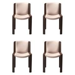 Set of Four Joe Colombo 'Chair 300' Wood and Kvadrat Fabric by Karakter