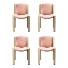 Set of Four Joe Colombo 'Chair 300' Wood and Kvadrat Fabric by Karakter