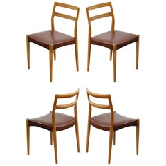Set of Four Johannes Andersen for Uldum Møbelfabrik Danish Modern Dining Chairs