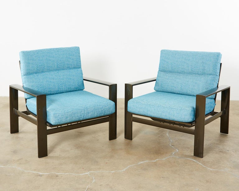 Set of Four John Caldwell Patio Rocking Lounge Chairs 5