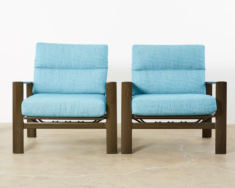 Set of Four John Caldwell Patio Rocking Lounge Chairs 7