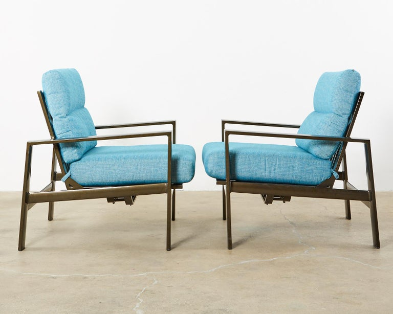 American Set of Four John Caldwell Patio Rocking Lounge Chairs