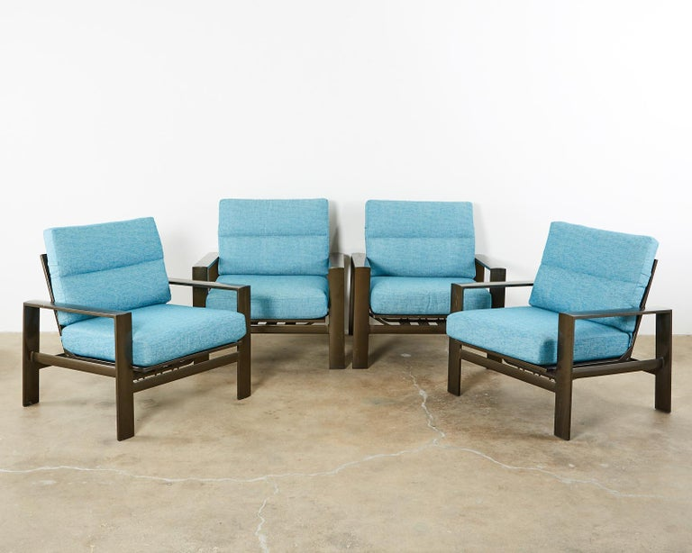 Set of Four John Caldwell Patio Rocking Lounge Chairs In Good Condition In Oakland, CA