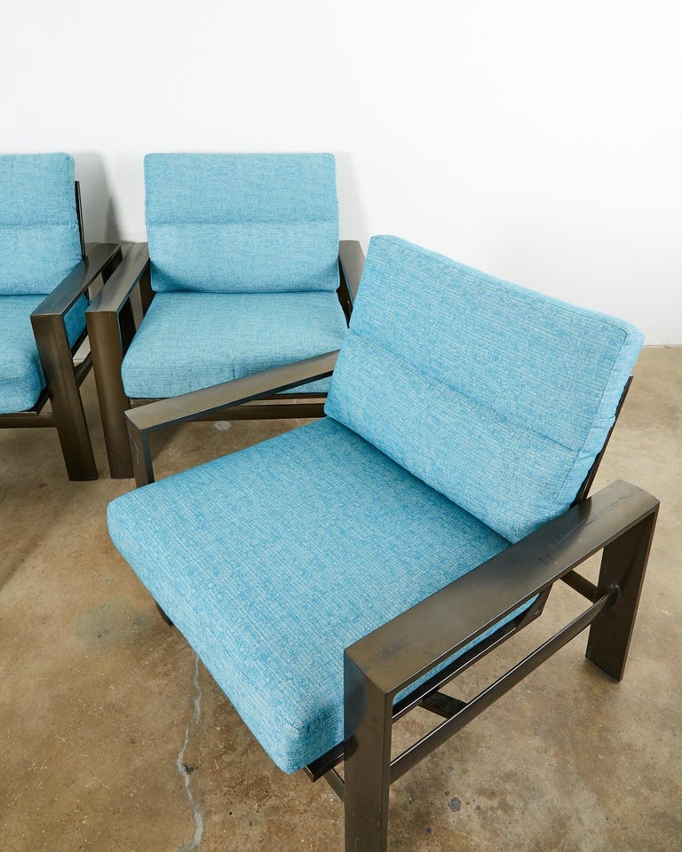 Aluminum Set of Four John Caldwell Patio Rocking Lounge Chairs