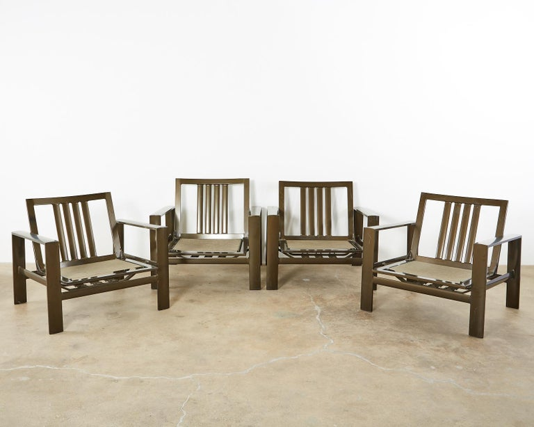 Set of Four John Caldwell Patio Rocking Lounge Chairs 1