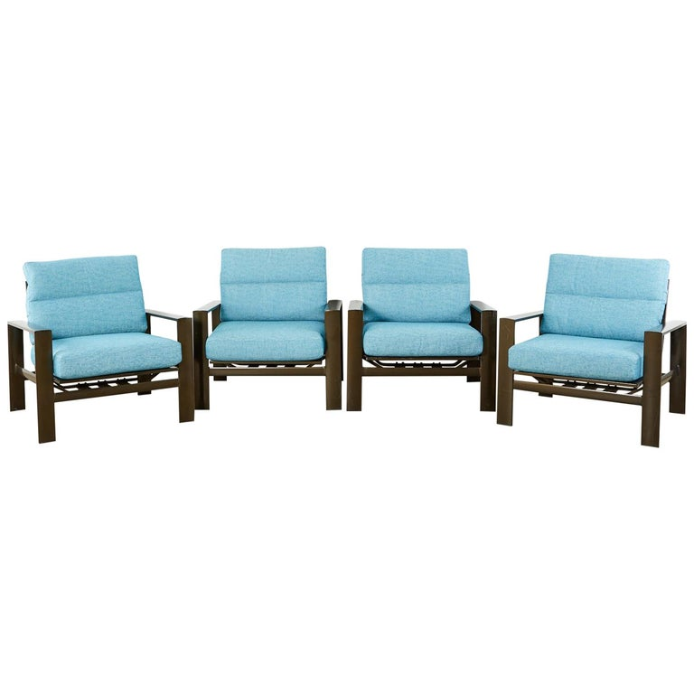 Set of Four John Caldwell Patio Rocking Lounge Chairs