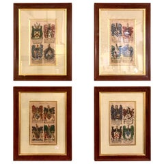 Set of Four John Guillum Copperplate Engravings Display of Heraldry, London 1679