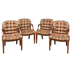 Set of Four John Roselli English Biscuit Chairs in Ralph Lauren Fabric