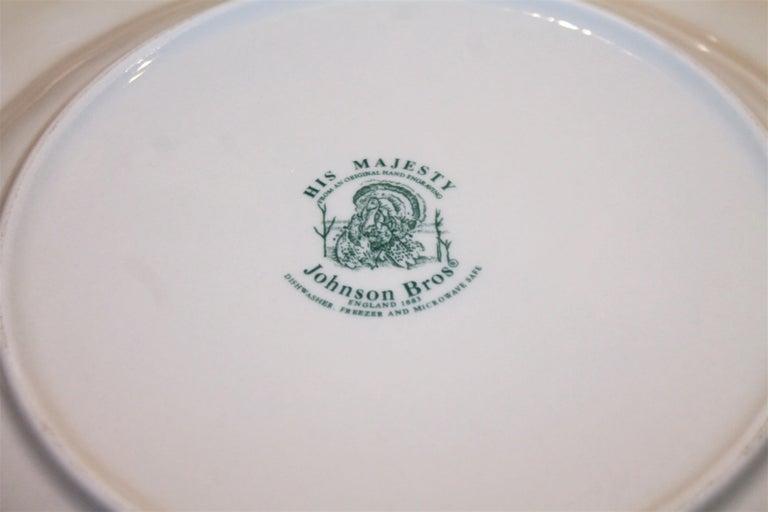 Adirondack Set of Four Johnson Bros Dinner Plates and Johnson Bros Platter For Sale
