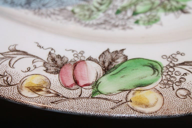 Hand-Painted Set of Four Johnson Bros Dinner Plates and Johnson Bros Platter For Sale