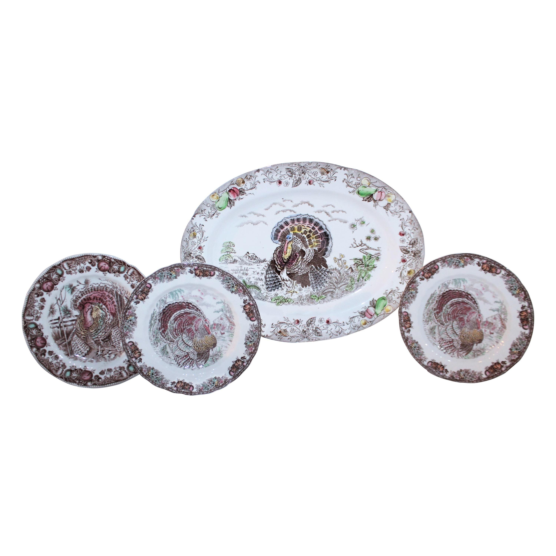 Set of Four Johnson Bros Dinner Plates and Johnson Bros Platter