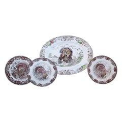Set of Four Johnson Bros Dinner Plates and Johnson Bros Platter