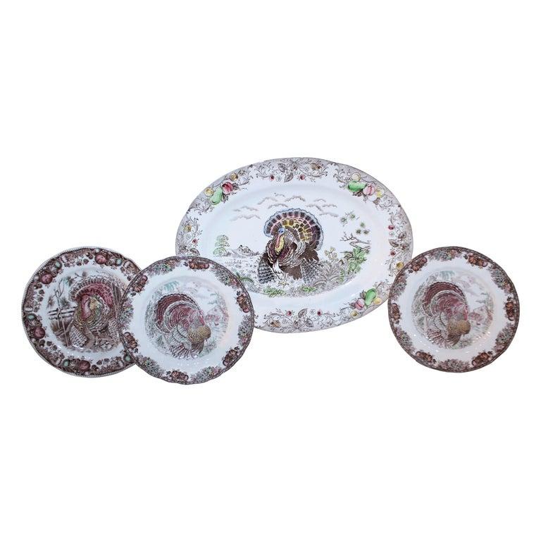 Set of Four Johnson Bros Dinner Plates and Johnson Bros Platter For Sale