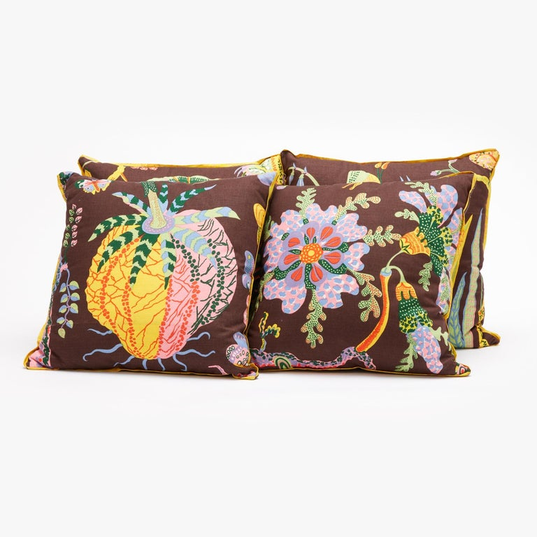 Down Set of Four Josef Frank Cushions in the