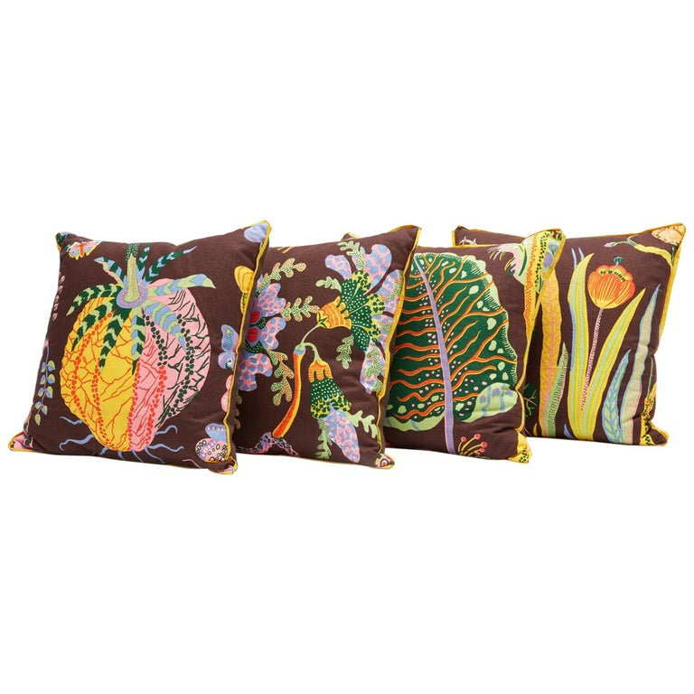 """Set of Four Josef Frank Cushions in the """"Hawaii"""" Pattern For Sale"""