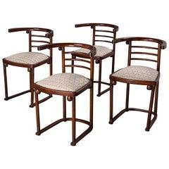 """Set of Four Josef Hoffmann """"Die Fledermaus"""" Chairs by Mundus"""