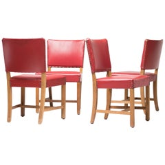 Set of Four Kaare Klint KK47510 Red Chairs, Rud. Rasmussen, 1930s
