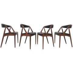 Set of Four Kai Kristiansen Danish Teak Dining Chairs, circa 1960s