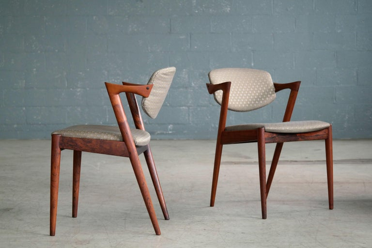 Mid-Century Modern Set of Four Kai Kristiansen Model 42 Rosewood Dining Chairs for Schou Andersen