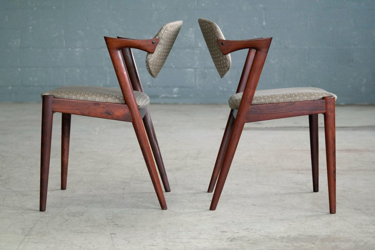 Mid-20th Century Set of Four Kai Kristiansen Model 42 Rosewood Dining Chairs for Schou Andersen