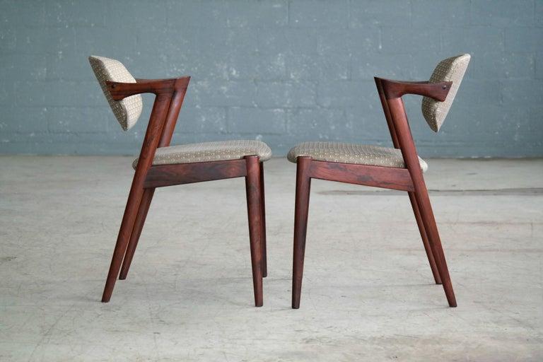 Teak Set of Four Kai Kristiansen Model 42 Rosewood Dining Chairs for Schou Andersen