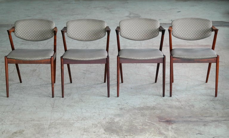 Set of Four Kai Kristiansen Model 42 Rosewood Dining Chairs for Schou Andersen 1