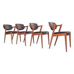 Set of Four Kai Kristiansen Model 42 Teak Dining Chairs