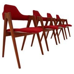 Set of Four Kai Kristiansen Teak Dining Chairs 1960s Model Compass SVA Møbler