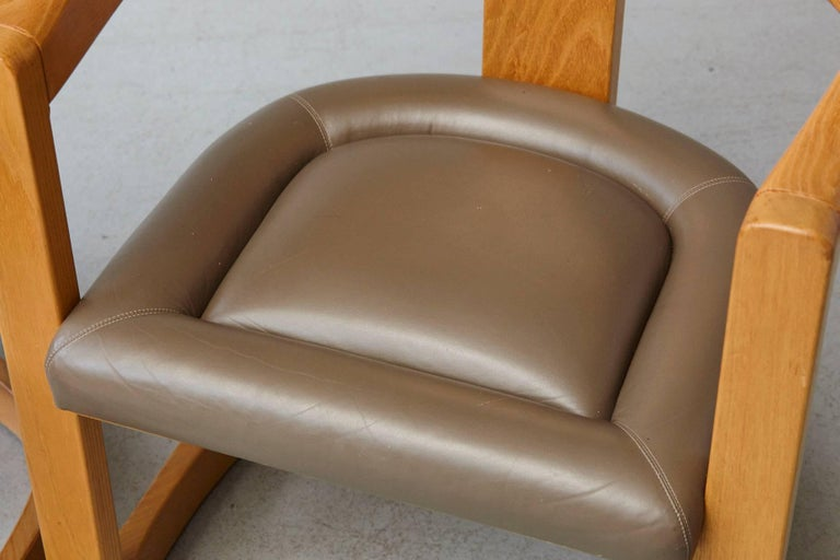 Set of Four Karl Springer Oak and Leather 'Onassis' Arm or Dining Chairs For Sale 8