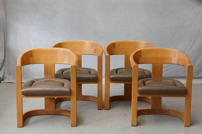 Mid-Century Modern Set of Four Karl Springer Oak and Leather 'Onassis' Arm or Dining Chairs For Sale