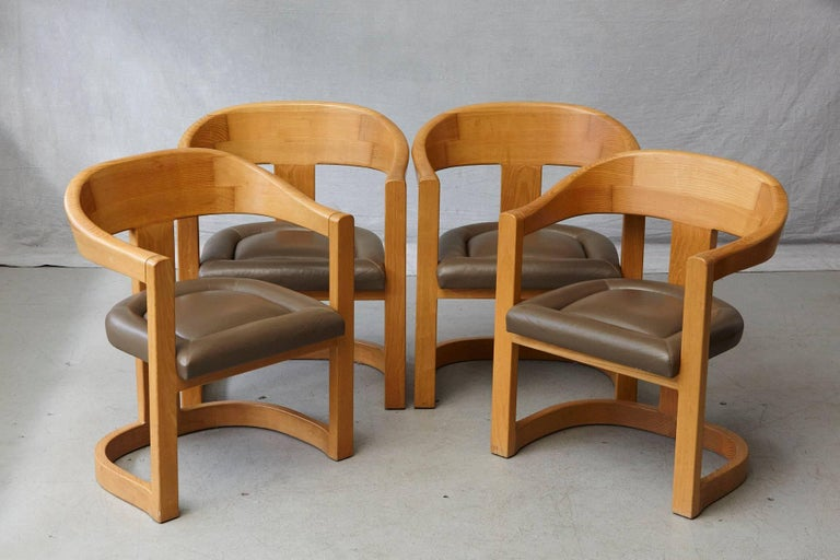 American Set of Four Karl Springer Oak and Leather 'Onassis' Arm or Dining Chairs For Sale