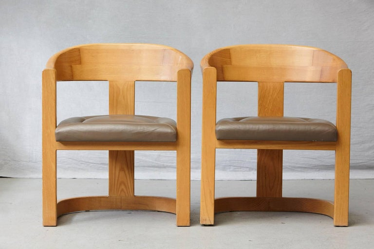 Late 20th Century Set of Four Karl Springer Oak and Leather 'Onassis' Arm or Dining Chairs For Sale