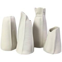 Set of Four Kawa Porcelain Vases, in Stock