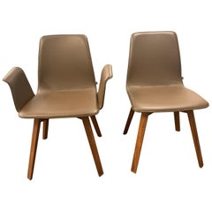 Set of Three KFF Maverick Brown Leather and Wood Chairs