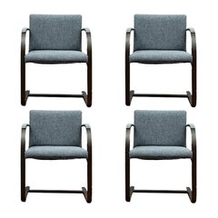 Set of Four Knoll Brno Design Flat Bar Upholstered Armchairs