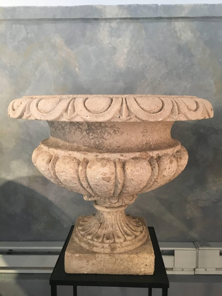 Set of Four Large Carved Limestone Urns from Michael and Diandra Douglas Estate For Sale 8