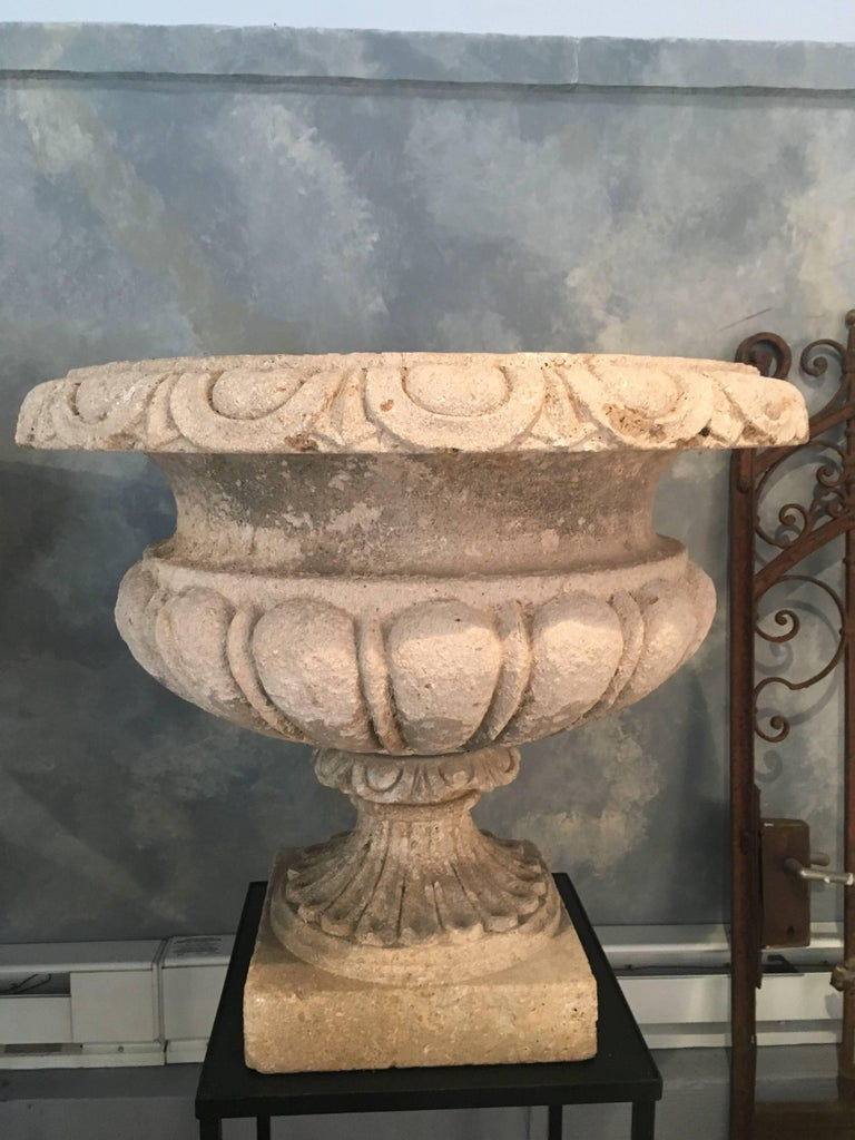 Set of Four Large Carved Limestone Urns from Michael and Diandra Douglas Estate For Sale 9