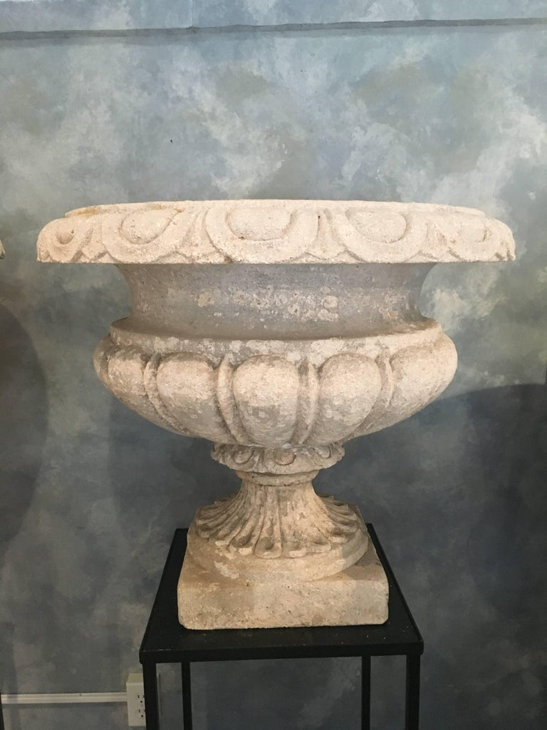 Set of Four Large Carved Limestone Urns from Michael and Diandra Douglas Estate For Sale 10