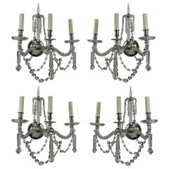 Set of Four Large English Cut-Glass Wall Lights