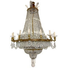Set of Four Large French Bronze and Crystal Chandeliers, Sold Individually