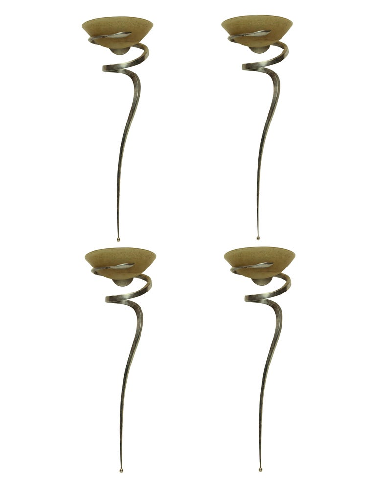 Mid-Century Modern Set of Four Large French Sconces