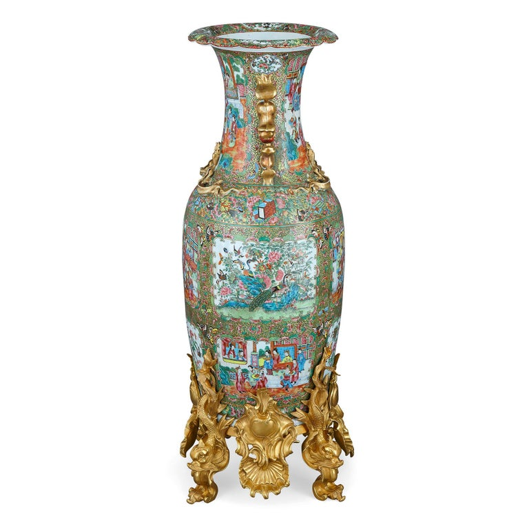 Set of Four Large Gilt Bronze Mounted Chinese Porcelain Vases For Sale 6