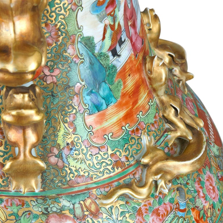 Set of Four Large Gilt Bronze Mounted Chinese Porcelain Vases For Sale 7